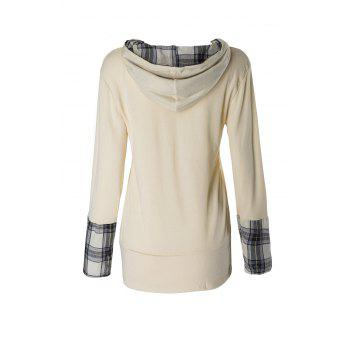 Stylish Hooded Long Sleeve Plaid Spliced Women's Hoodie - L L