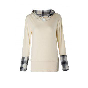 Stylish Hooded Long Sleeve Plaid Spliced Women's Hoodie - BEIGE L