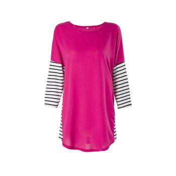 Fashionable Women's Jewel Neck 3/4 Sleeve Striped Spliced T-Shirt