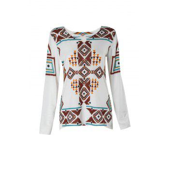 Stylish 3/4 Sleeve Scoop Collar Geometric Print Women's T-Shirt