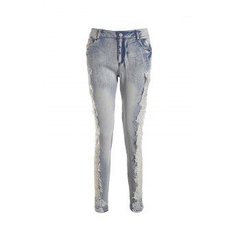 Stylish Low-Waisted Hollow Out Skinny Crochet Flower Women's Jeans
