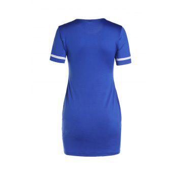Stylish Number Print Short Sleeve Scoop Neck Women's Bodycon Dress - BLUE L