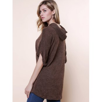 Casual Style Solid Color Batwing Sleeves Cotton Blend Fleeces Women's Plus Size Hoodie - KHAKI ONE SIZE