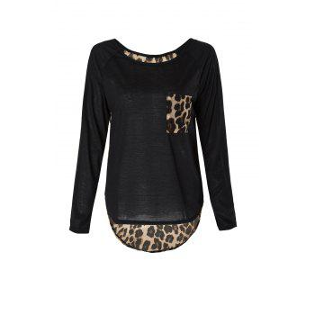 Stylish Scoop Neck Long Sleeves Leopard Print Spliced Women's T-Shirt