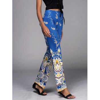 Stylish Mid-Waisted Wide Leg Paisley Pattern Women's Exumas Pants