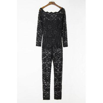 Sexy Off-The-Shoulder Lace Hollow Out Long Sleeve Women's Jumpsuit