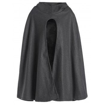 Fashionable Solid Color Hooded High Slit Loose Cloak For Women