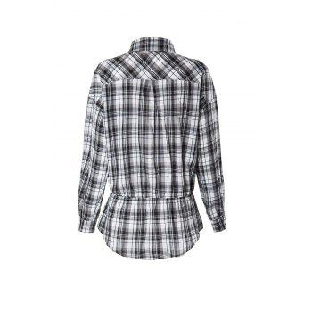 Stylish Shirt Collar Checked Print Long Sleeve Women's Blouse - COLORMIX XL