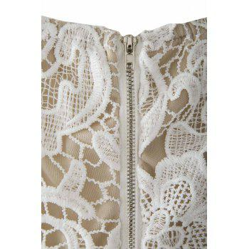 Sexy Spaghetti Strap Lace Embroidered Hollow Out Women's Dress - M M