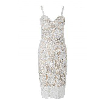 Sexy Spaghetti Strap Lace Embroidered Hollow Out Women's Dress - WHITE M