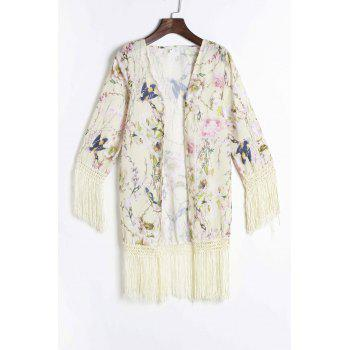 Fashionable Floral Print Tassel Spliced 3/4 Sleeve Women's Kimono