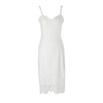 Alluring Spaghetti Strap Lace Embroidered Women's Dress - WHITE S