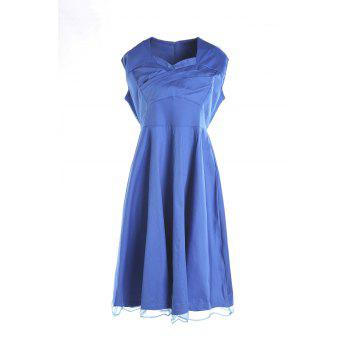 Retro Cap Sleeve Sweetheart Neck Solid Color Women's Dress - BLUE 2XL