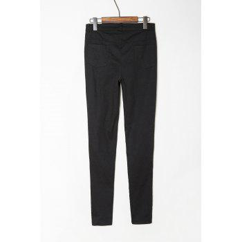 Chic Mid-Waisted Hole Design Pure Color Women's Jeans - BLACK M