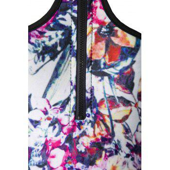 Sexy Tiger Head Printed Zippered One-Piece Swimwear For Women - L L