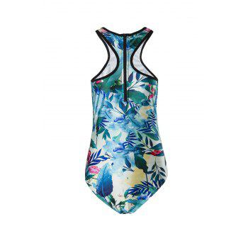 Sexy Back Zippered Tropical Printed One-Piece Swimwear For Women - GREEN GREEN