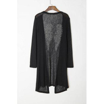 Stylish Long Sleeve Wings Pattern Studded Women's Maxi Cardigan