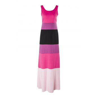 Stylish Scoop Collar Sleeveless Hit Color Striped Women's Dress