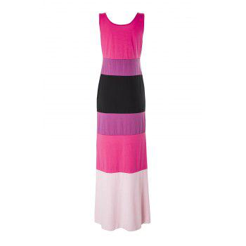 Stylish Scoop Collar Sleeveless Hit Color Striped Women's Dress - ROSE XL