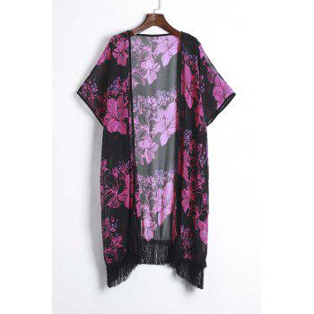 Retro Style Floral Printed Tassel Hem Loose Kimono For Women