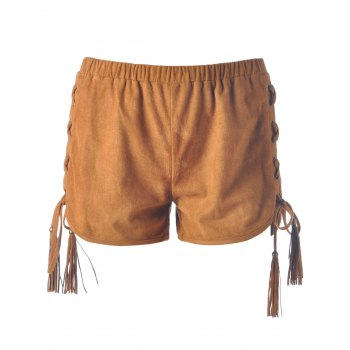 Stylish Lace-Up Pure Color Shorts For Women