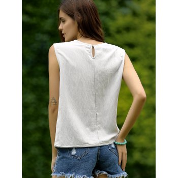 Floral Embroidery Back Button Women's Top - GRAY ONE SIZE(FIT SIZE XS TO M)