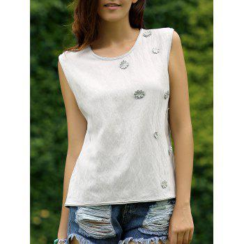 Floral Embroidery Back Button Women's Top
