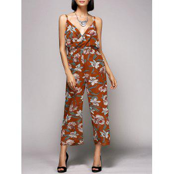 Floral Print Belted Spaghetti Strap Jumpsuit