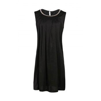 Elegant Round Neck Sleeveless Beaded Plus Size Women's Dress