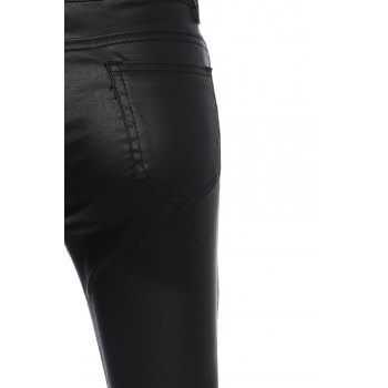 Brief Women's Buttoned Black PU Leather Pants - BLACK 38