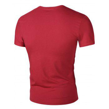 Men's Round Neck Letters Print Short Sleeve T-Shirt - WINE RED XL