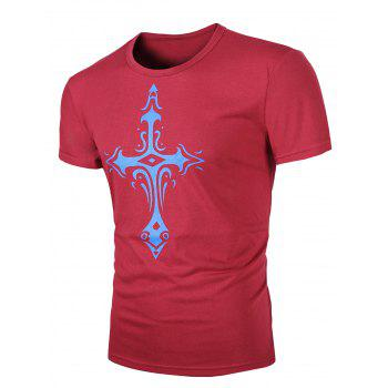 Men's Round Neck Cross Print Short Sleeves T-Shirt