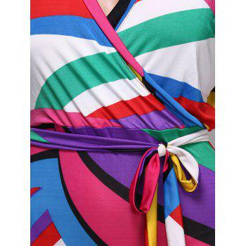 Alluring Colorful Striped Plunging Neck Short Sleeve Women's Dress - COLORMIX XL