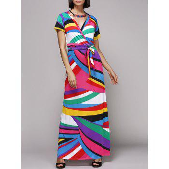 Alluring Colorful Striped Plunging Neck Short Sleeve Women's Dress