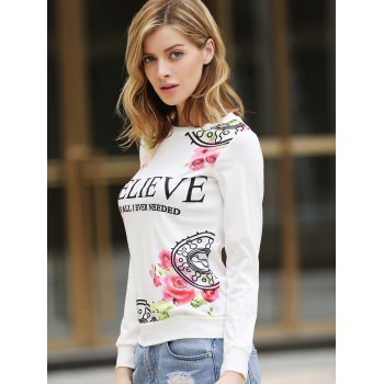 Casual Letter and Rose Printed Pullover Sweatshirt For Women - WHITE WHITE