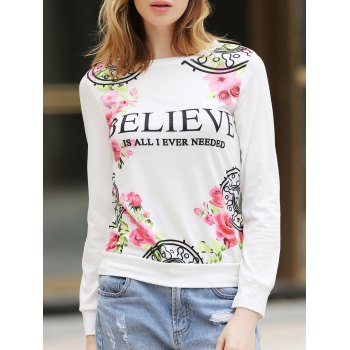 Casual Letter and Rose Printed Pullover Sweatshirt For Women