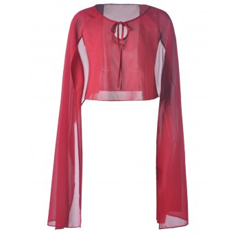 Fashionable Pure Color Chiffon Top For Women - DEEP RED DEEP RED