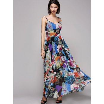 Stylish Open Back Sleeve Print Beach Dress For Women - COLORMIX L