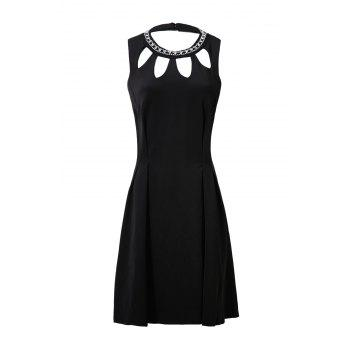 Elegant Round Neck Sleeveless Beaded Hollow Out A-Line Women's Dress