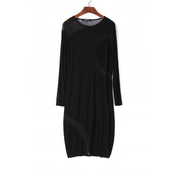 Fashion Jewel Neck Long Sleeve Voile Splicing See-Through Women's Black Dress