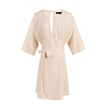 Sexy Plunging Neck 3/4 Sleeve Hollow Out Pink Women's Dress