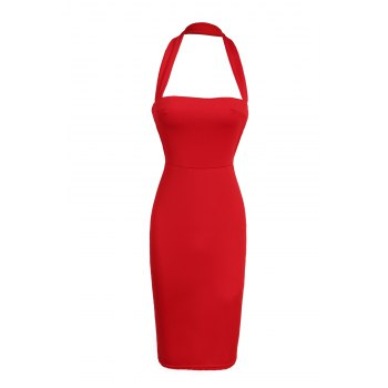 Elegant Halter Sleeveless Solid Color Bodycon Women's Dress