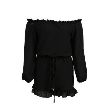 Chic Long Sleeve Boat Neck Ruffled Lace-Up Women's Romper