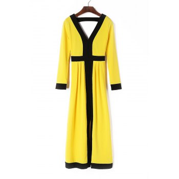 Stylish Plunging Neck Long Sleeve Spliced High Slit Women's Dress
