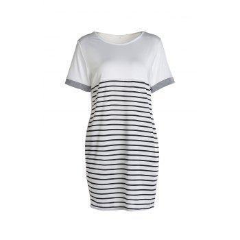 Casual Short Sleeve Round Collar Color Block Striped Women's Dress - NATURAL WHITE LIGHT XL