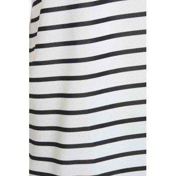 Casual manches courtes Col rond Color Block Striped femmes s 'Dress - Blanc Naturel XL