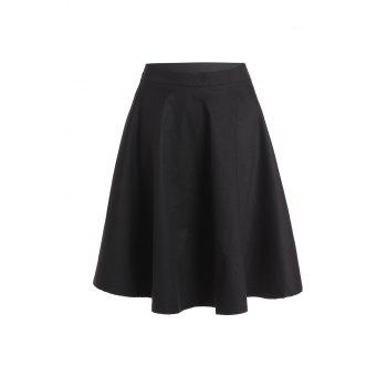 Noble Solid Color High Waist A-Line Ball Skirt For Women - BLACK BLACK