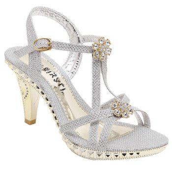 Trendy Rhienstones and Metal Color Design Women's Sandals