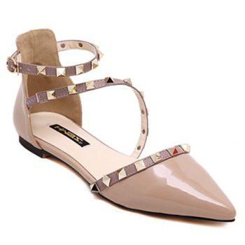 Fashionable Hit Colour and Rivets Design Women's Flat Shoes - NUDE 39