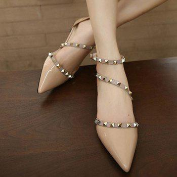 Fashionable Hit Colour and Rivets Design Women's Flat Shoes - NUDE NUDE